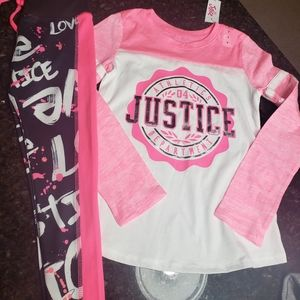 Nwt Justice raglan shirt and active leggings